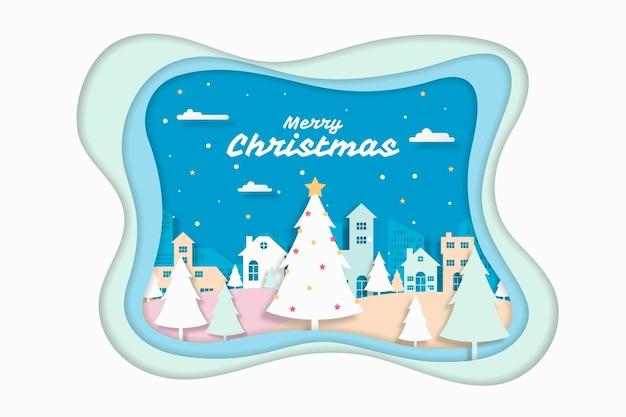 Рождественский фон в стиле бумаги