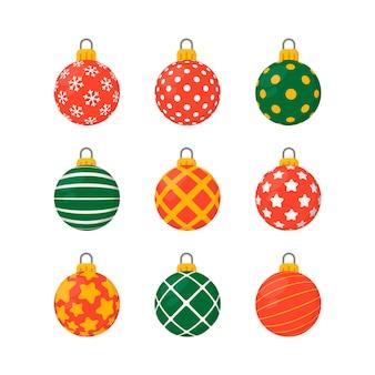 フラットなデザインでカラフルなクリスマスボール