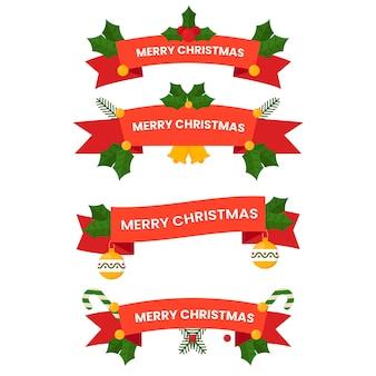 フラットなデザインのクリスマスリボンのコレクション
