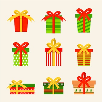 Рождественская коллекция подарков в плоском дизайне