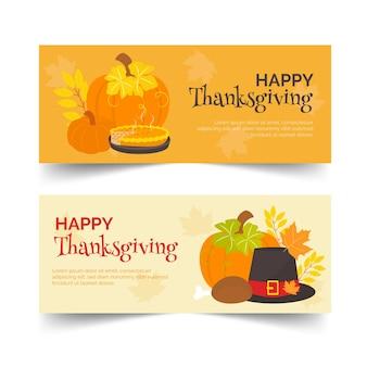 Плоский дизайн набор баннеров благодарения