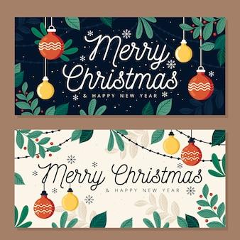 フラットなデザインのクリスマスバナーテンプレート