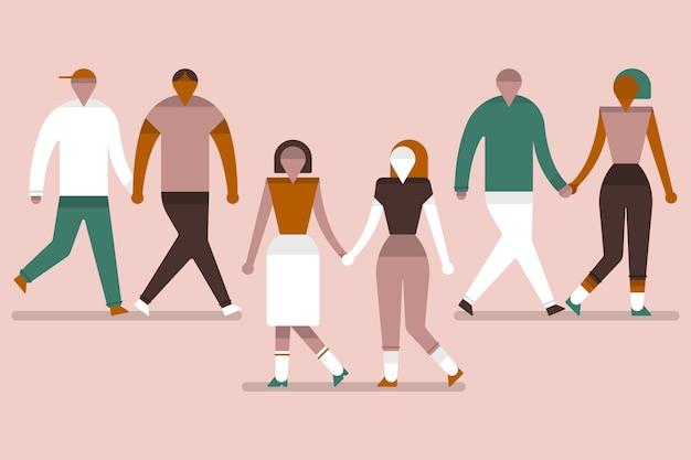 一緒に歩く若いカップルのグループ