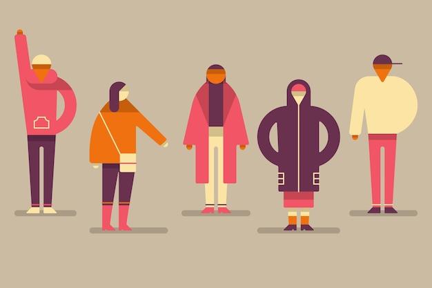 Коллекция людей в осенней одежде