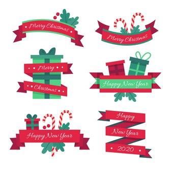 Коллекция плоских рождественских лент