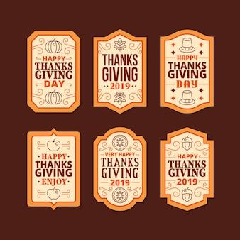 Плоский дизайн коллекции благодарения этикетки