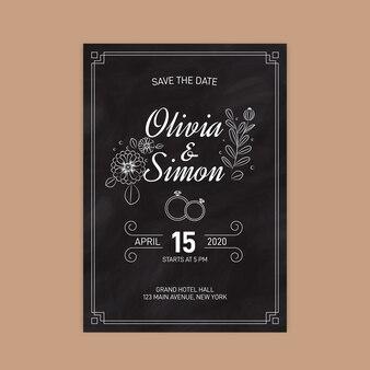 Шаблон приглашения ретро-свадьба на доске