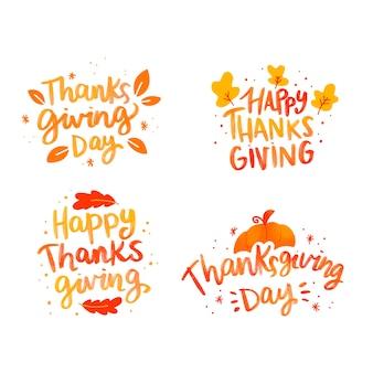 幸せな感謝祭のレタリングバッジコレクション