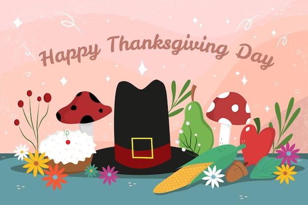 帽子とフラットなデザインの幸せな感謝祭の背景