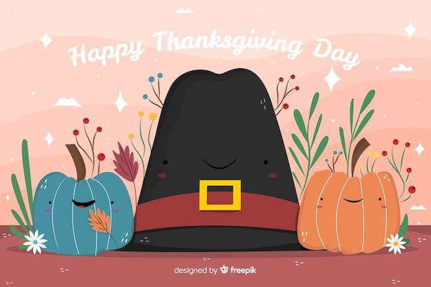 Ручной обращается фон благодарения в шляпе