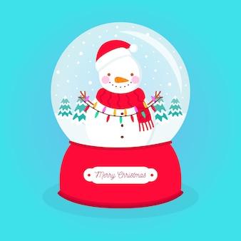 Плоский дизайн рождественский снежный шар со снеговиком