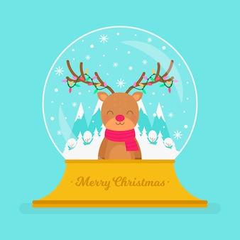 Плоский дизайн рождественский снежный шар с оленями