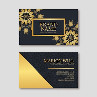 Шаблон визитной карточки золотые цветы