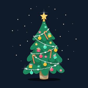 フラットなデザインのクリスマスツリーの図