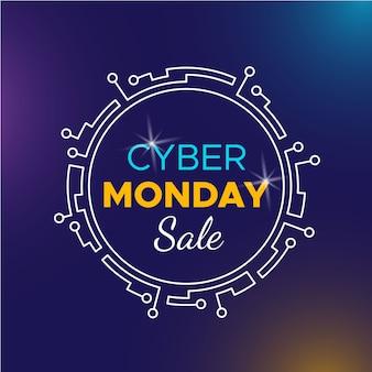 Плоский дизайн кибер понедельник продажа баннер