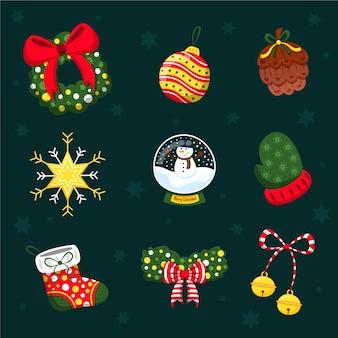 手描きのクリスマスデコレーションパック