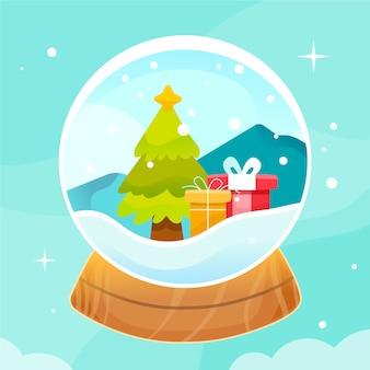 Ручной обращается рождественский снежный шар с подарками