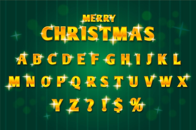 黄金の輝くクリスマスアルファベットイラスト