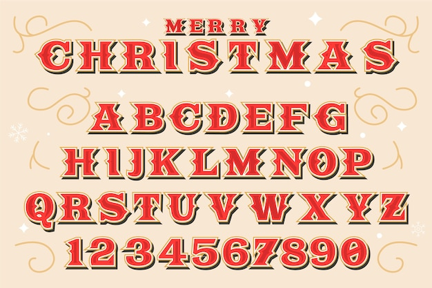 Старинные рождественские алфавит иллюстрация