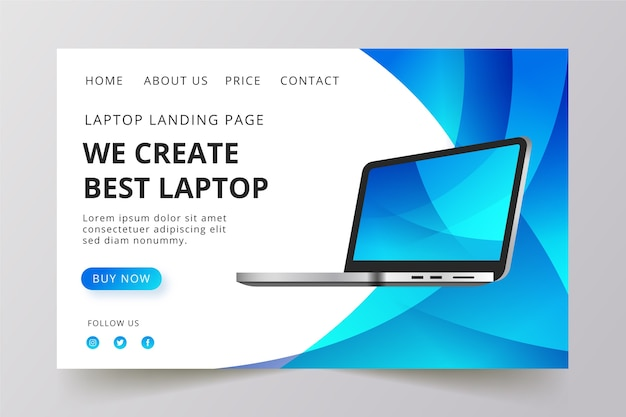 Целевая страница с дизайном шаблона ноутбука