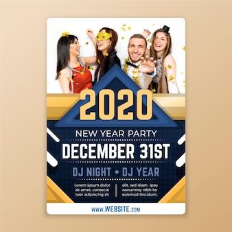 Новый год флаер шаблон с изображением