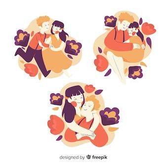 Коллекция иллюстрированной милой пары