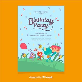 平らな誕生日の招待状のテンプレート