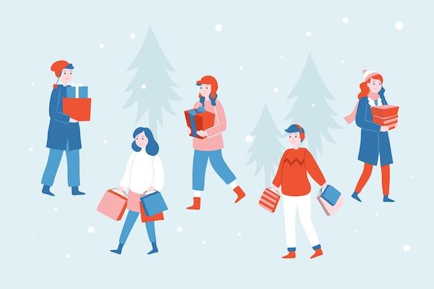 冬のクリスマスプレゼントを持つ人々