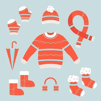Плоский дизайн коллекции зимней одежды