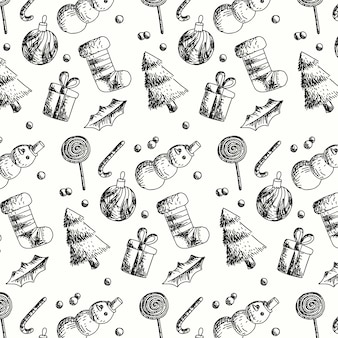 フラットなデザインのビンテージクリスマスパターン
