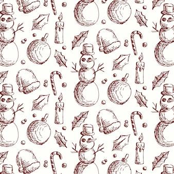 Плоский дизайн старинный рождественский узор