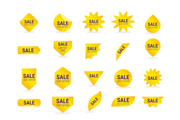 Коллекция желтых этикеток продаж