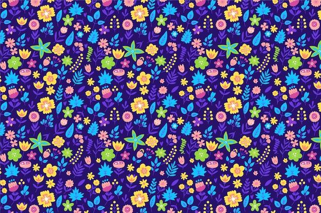 ランダムに散らばる頭が変な花のモチーフ