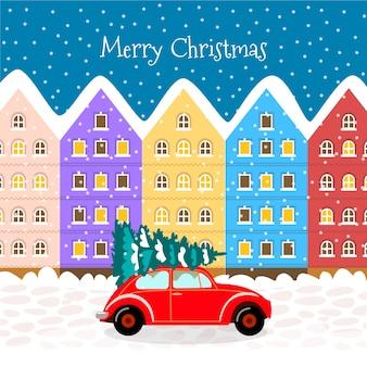 Плоский рождественский город фон