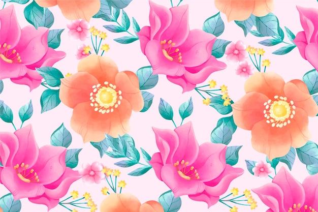 ピンクの背景とカラフルな花を描いた