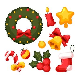 さまざまなフラットなクリスマスデコレーション