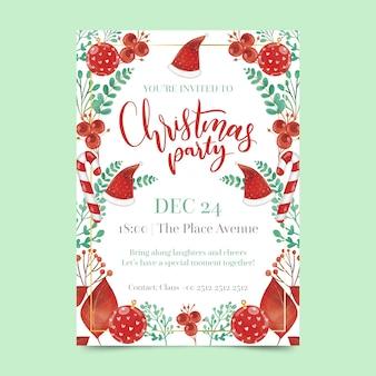 Шаблон плаката акварель рождественская вечеринка