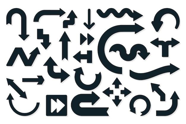 フラットなデザインの黒い矢印コレクション