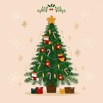 クリスマスツリーのフラットなデザインイラスト