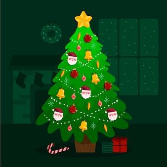 クリスマスツリーイラストフラットデザイン