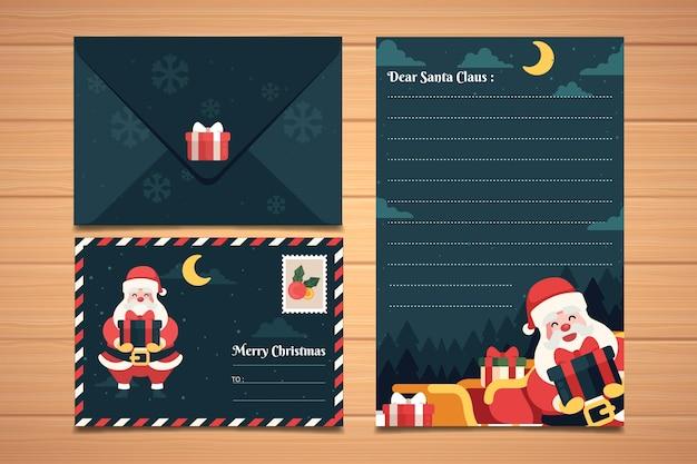 Плоский дизайн рождественские канцелярские набор шаблонов