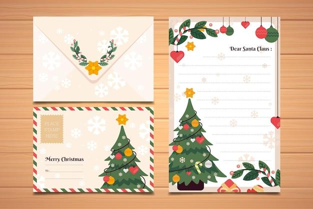 Плоский дизайн рождественская коллекция шаблонов канцелярских товаров