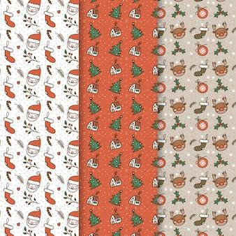 手描きクリスマスパターンコレクション