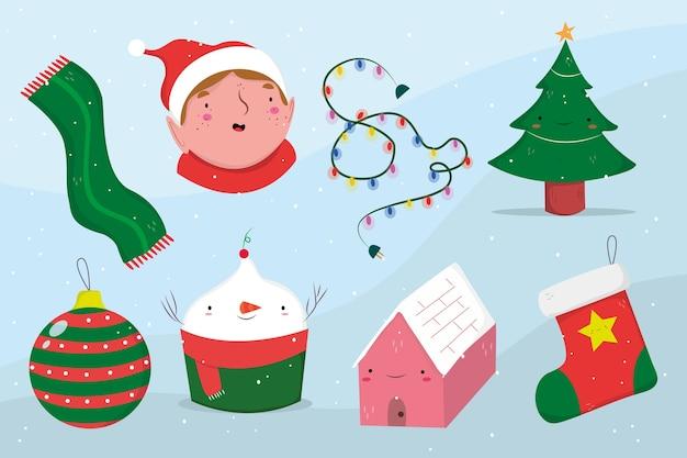 Нарисованная рукой рождественская коллекция элементов