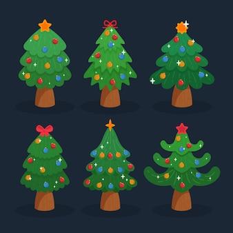 フラットなデザインのクリスマスツリーセット