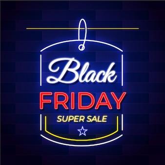 Неоновая черная пятница супер распродажа баннер