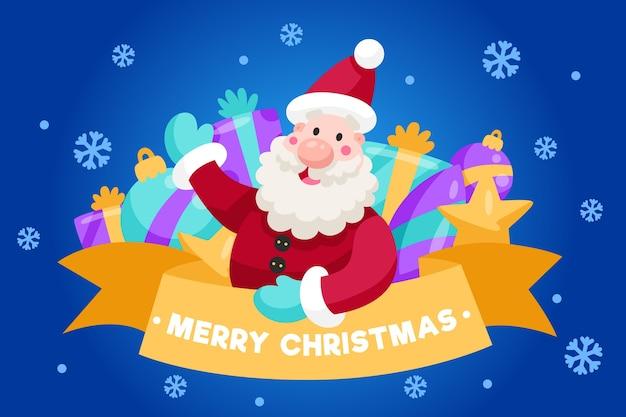 サンタとフラットなデザインのクリスマス背景