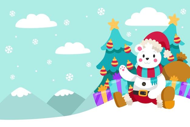 クマとフラットなデザインのクリスマス背景