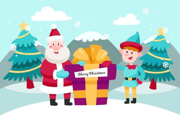 ギフトとフラットなデザインのクリスマス背景