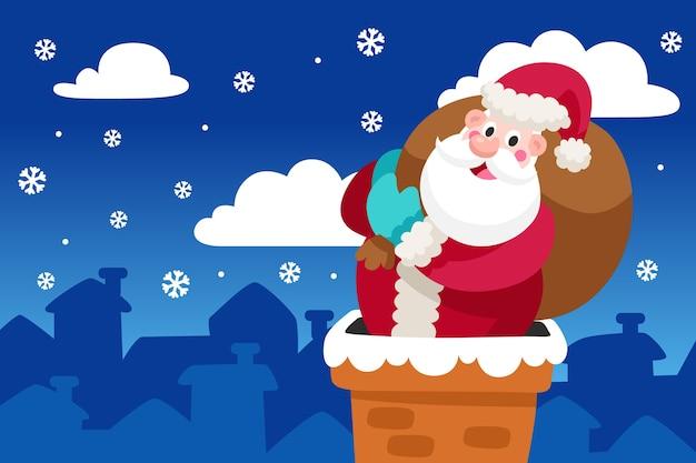 サンタとフラットなデザインのクリスマスの壁紙
